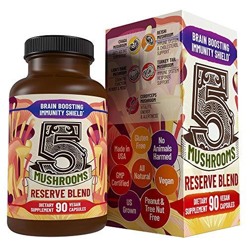 5 Mushrooms Reserve Blend - Lions Mane, Cordyceps, Reishi, Chaga, Turkey Tail Mushroom Supplement – Immune System Booster & Nootropic Brain Health