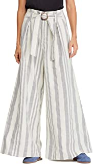 Free People Stripe Wide Leg Pants, Size 12 - White