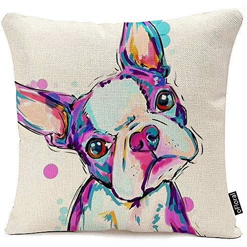 WEURIGEF Funda de cojín Animal Boston Terrier Perro Fundas de cojín Decorativas Bulldog Throw Pillow Silla de Coche Decoración para el hogar Funda de Almohada para sofá 45 * 45 cm