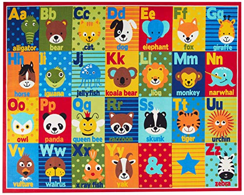 Smithsonian Rug ABC Alphabet Learning Carpets Bedding Play Mat Classroom Decorations Cute Animal Area Rugs 8x10