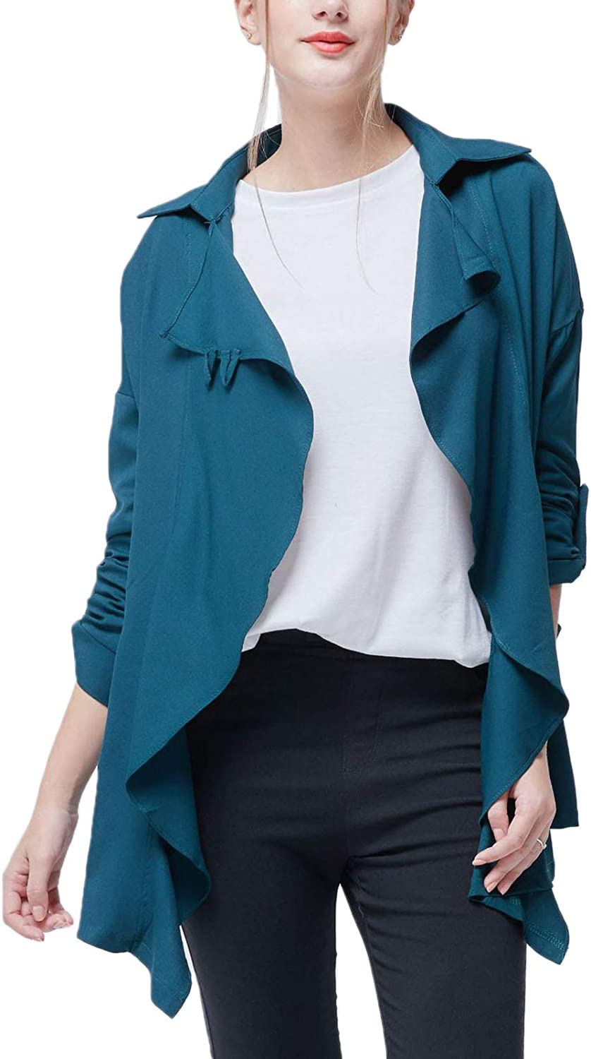 Flygo Womens Lightweight Open Front Draped Trench Coat Jacket Ca