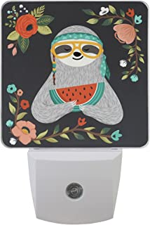 Naanle Set of 2 Hipster Sloth in Glasses Bandana Eating Watermelon Hippie Animal Summer Colorful Floral Flowers Branch On Black Auto Sensor LED Dusk to Dawn Night Light Plug in Indoor for Adults