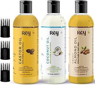 Rey Naturals Cold Pressed Castor Oil, Coconut Oil & Sweet Almond Oil - for hair & skin - 100ml + 100ml + 100ml