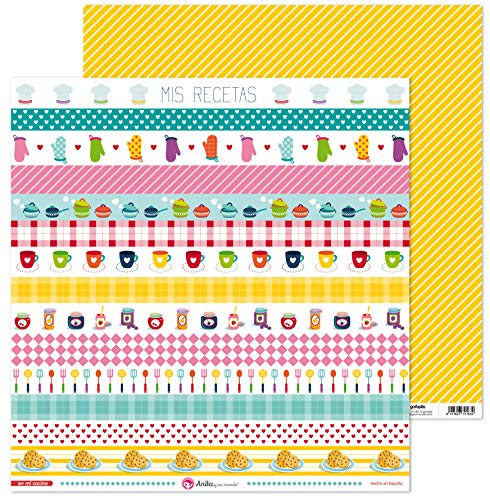 Anita y Su Mundo Colección En Mi Cocina Papeles de Scrapbooking, Paper, Tiras, 30.5 x 30.5 cm