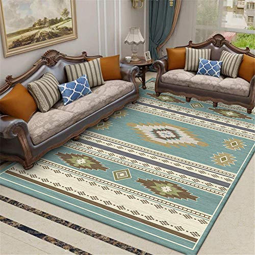 WQ-BBB Easy To Store non-fading Rugs Traditional ethnic style rugs living room large blue brown discoloration durable Living Room Rugs 150X200cm