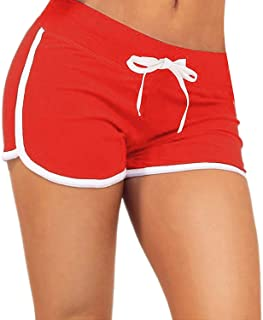 ZITY Women's Dolphin Running Yoga Gym Workout Sport Athletic Shorts (Small, Red)