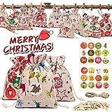 Tonsooze Calendrier de l'Avent, Sac Cadeau De Noël, Sac en Tissu de Calendrier de l'avent Remplissable, 24 Pochettes Sacs à Cordon Calendrier De l'Avent 2020 pour DIY Décoration Noël