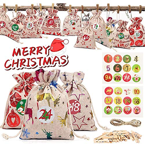 Tonsooze Calendario de Adviento, DIY Bolsa de Regalo, 24 Bolsa de Regalo Navidad Calendario Adviento, Bolsas de Yute Navideño con Pegatinas Adornos, Saquitos de Tela de Regalo para Navidad Decoración
