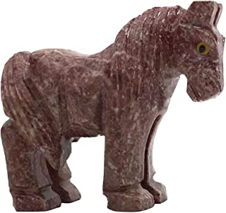 Nelson Creations, LLC Horse Natural Soapstone Hand-Carved Animal Charm Totem Stone Carving Figurine, 2 Inch