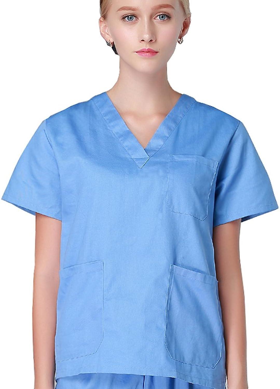 YL LY Women Scrub Uniforms Scrub Clothes Cotton Blend Sets Top+Pant 2pcs Set