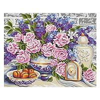 子供と大人と初心者のための数字でペイントDIY油絵ギフトキットペイントブラシでペイントワークを描く16x20インチフレームレスホームウォールリビングルームの寝室の装飾 美しい花
