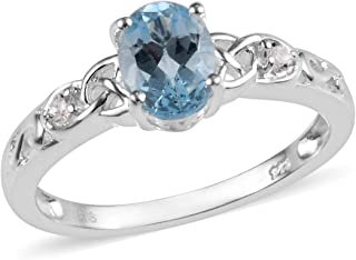 925 Sterling Silver Oval Sky Blue Topaz White Topaz Statement Ring for Women Cttw 1.2