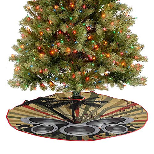 Homesonne Xmas Tree Skirts Palm Trees Striped Ombre Backdrop Music Loudspeaker Art Print Xmas Ornaments for Xmas Tree Holiday Party Decorations Red Tan Hunter Green Black Grey 36 Inch
