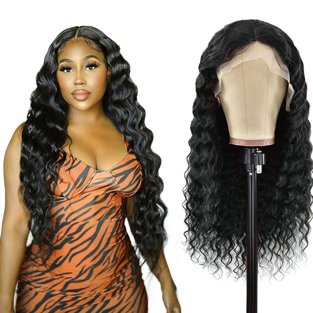 Loose Deep Wave Lace Front Wigs Black Human Pre-P shopping Hair Max 52% OFF For Women