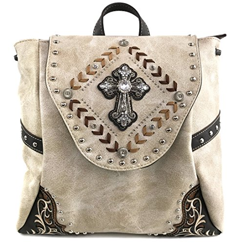 Justin West Trendy Western Cross Rhinestone Leather Conceal Carry Top Handle Square Backpack Purse (Beige Backpack)