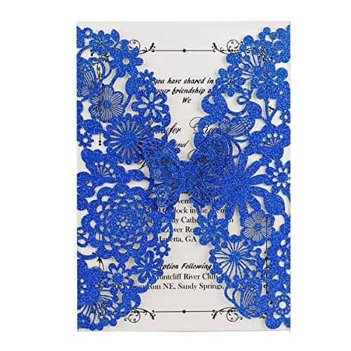 WISHMADE 20x Königsblau Hochzeit EinladungsKarten Für Lasercut Elegante Schmetterling Einladung Karten , 20 Stück inkl Umschläge (Blau Glitzer)