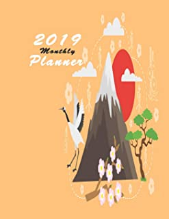 2019 monthly planner: Calendar To do List Top goal Organizer and Focus Schedule Beautiful Japan banner collection set Monthly and Weekly red sun stork (Planner 2019)