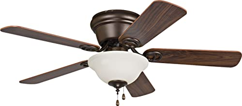 """Craftmade WC42ORB5C1 Wyman Flush Mount 42"""" Ceiling Fan With 120 Watts Bowl Light Kit & Pull Chain, 5 MDF Blades, Oil Rubbed Bronze"""