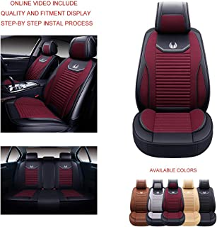 Oasis Auto OS-008 Leather&Cloth Universal Car Seat Covers Automotive Vehicle Cushion That Fits All Sedan Most SUV and Small Pick-Up Truck (Burgundy, Full Set)
