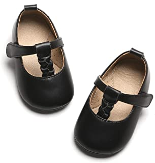 Baby and Toddler Girls Mary Jane Flats with Bowknot Non-Slip Toddler First Walkers Princess Dress Shoes
