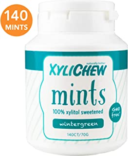 Xylichew 100% Xylitol Breath Mints Jar - Non GMO, Gluten, Aspartame, and Sugar Free Gum - Natural Oral Care, Relieves Bad Breath and Dry Mouth - Wintergreen (140 Count)