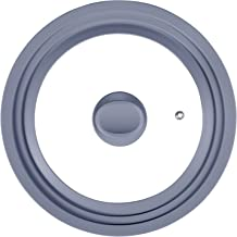 Universal Lid for Pots and Pans-Tempered Glass Lids for Skillet Frying with Silicone Rim Fits 7.9In 8.7In 9.5 Inch Diamete...
