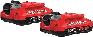 CRAFTSMAN V20 Lithium Ion Battery, 2.0-Amp Hour, 2 Pack (CMCB202-2)