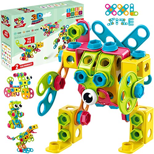 STEM Toys KIT 147 PCS | Educational Construction Set + 34 Models Step-by-Step Guide – Mobius Creative Engineering Toy – Building Blocks Learning Set for Boys & Girls 4 5 6 7 8 Years Old