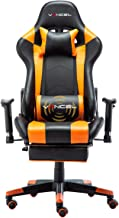 EAVANCEL Silla Gaming Sillones de Oficina Reclinable Ergonomica con Reposapiés Retráctil con Masaje Lumbar para Gamer (Naranja)