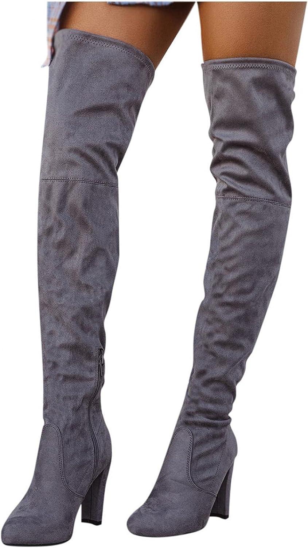 Zieglen Women's Winter Boots, Women's Boots with Zipper High Heel Knee High Booties Western Boots Snow Boots Motorcycle Boots