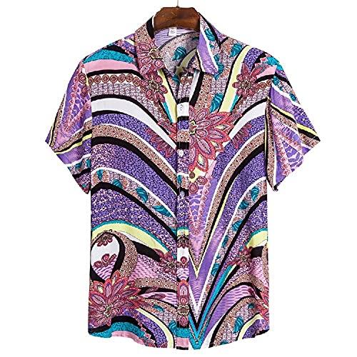 Camiseta Hombre Verano Moda Estampado Hombre Henley Camisa Moderna Cuello V Shirt Botón Placket Playa Shirt Liviana Casual Vacaciones Hombre Hawaii Camisa CS141 3XL