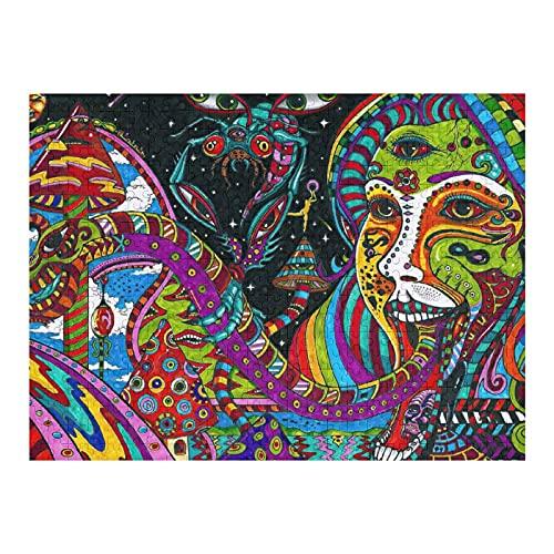 Houten puzzel 500 stuks voor volwassenen en kinderen, kleurrijke psychedelische abstracte Indiase Boho moeilijke…