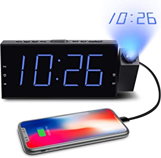 ROCAM Alarm Clock with Projection on Ceiling,Projection Alarm Clock for Bedrooms, Digital Clock Alarm with LED Display & Dimmer, Ceiling Display Clocks Dual Alarm Clock USB Charger