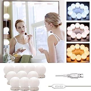 Luces de Espejo Maquillaje LED Lámpara de Espejo Cosmético de Tocador con Estilo Hollywood con USB Puerto Kit Luz Baño 1...