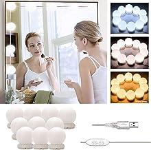 LED ijdelheid spiegelverlichting Hollywood stijl, Stick-on make-up spiegel licht Kit, USB-kabel cosmetische lamp, 3 kleurm...