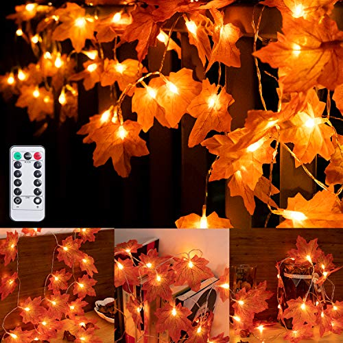 SAMYERLEN 2 Pack Maple Leaf String Lights, 20 LED Battery Operated String Lights Fall Lights, Autumn Indoor & Outdoor Parties...