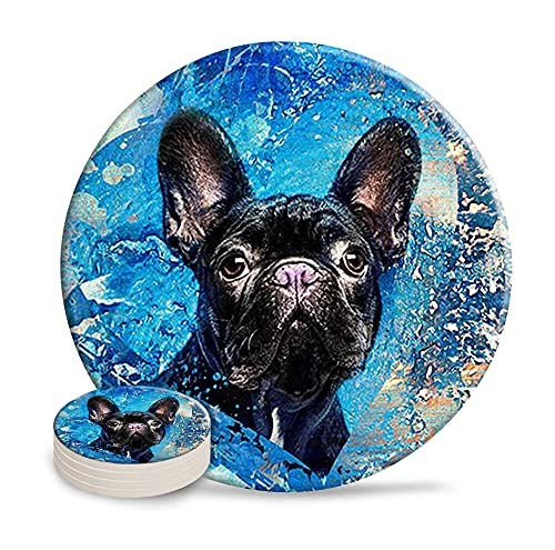 Coasters for Drinks French Bulldog Frenchie Dog,Set of 4 Ceramic Drink Beverage Coasters with Cork Base Art Coasters for Office Home Decoration Diameter 4.0'