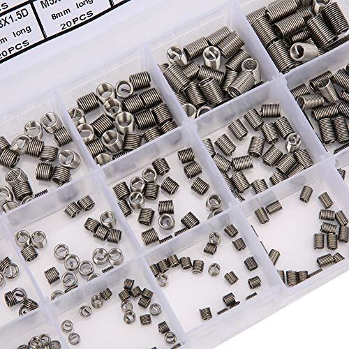 Herramienta de reparación de roscas de acero inoxidable con inserto roscado de 300 piezas M3x0.5 M4x0.7 M5x0.8 Insertos de roscas de alambre Kit de surtido de manguitos de reparación de tornillos de f