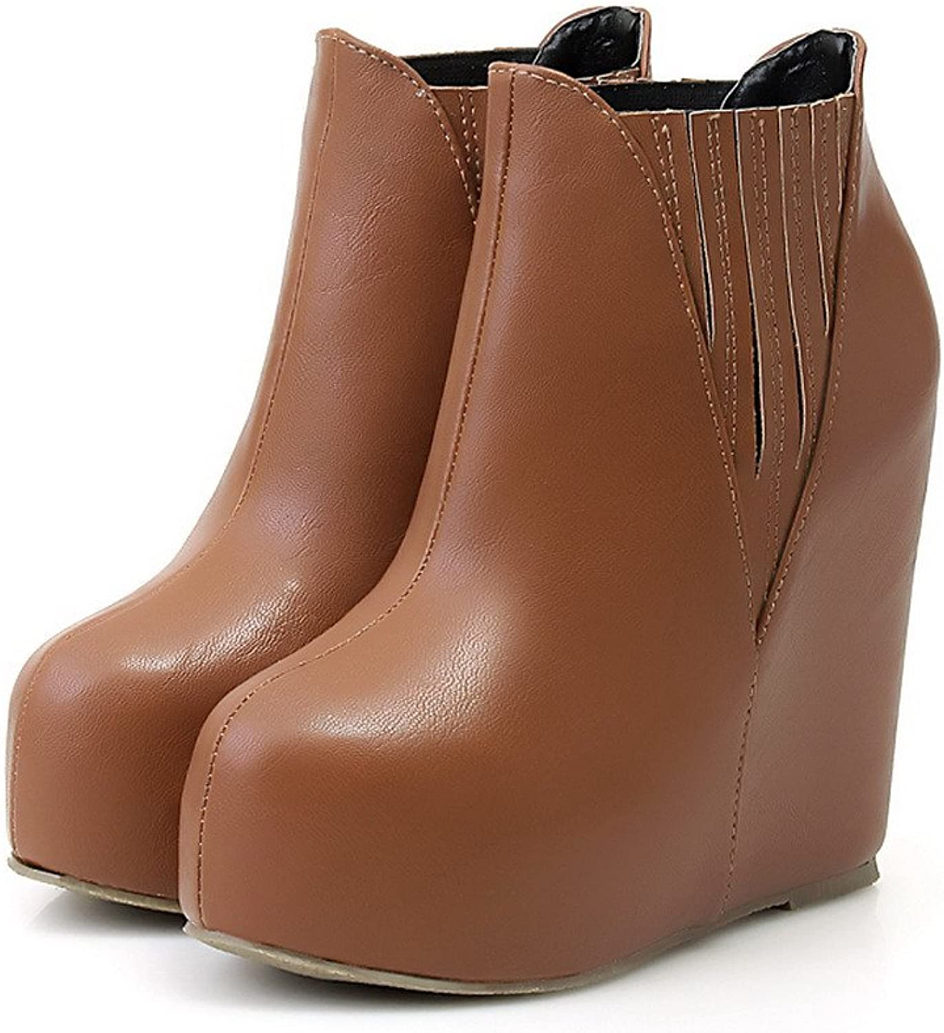 WeenFashion Womens Round Toe High Heels Soft Material Solid Boot with Wedge