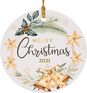 Avamie 2021 Christmas Ornament, Christmas Tree Ceramic Round Hanging Ornament, Two-Side Printed Design, Traditional Festiv...