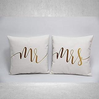 Juego de 2 fundas de almohada para mamá y papá Mr & Mrs, regalo de San Valentín, funda de cojín para decoración del hogar, funda de almohada de boda, sofá cama