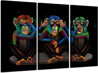 Kreative Arts 3 Panel Animals Canvas Print Wall Art See Hear Speak No Evil Monkeys Wall Art Modern Gorilla Poster and Prints Walls Painting Decorative Art Work for Home Office Decor Gifts 16x32inchx3
