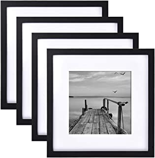 4 Pack 12x12 Picture Frames, Display 8x8 Photo with Picture Mat, Black Picture Frames Made of Solid Wood for Wall Mounting or Table Top, Mounting Hardware Included
