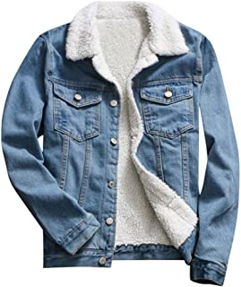 Doric Womens Fall Winter Fleece Lining Denim Upset Jacket Vintage Long Sleeve Loose Jeans Coat Jackets