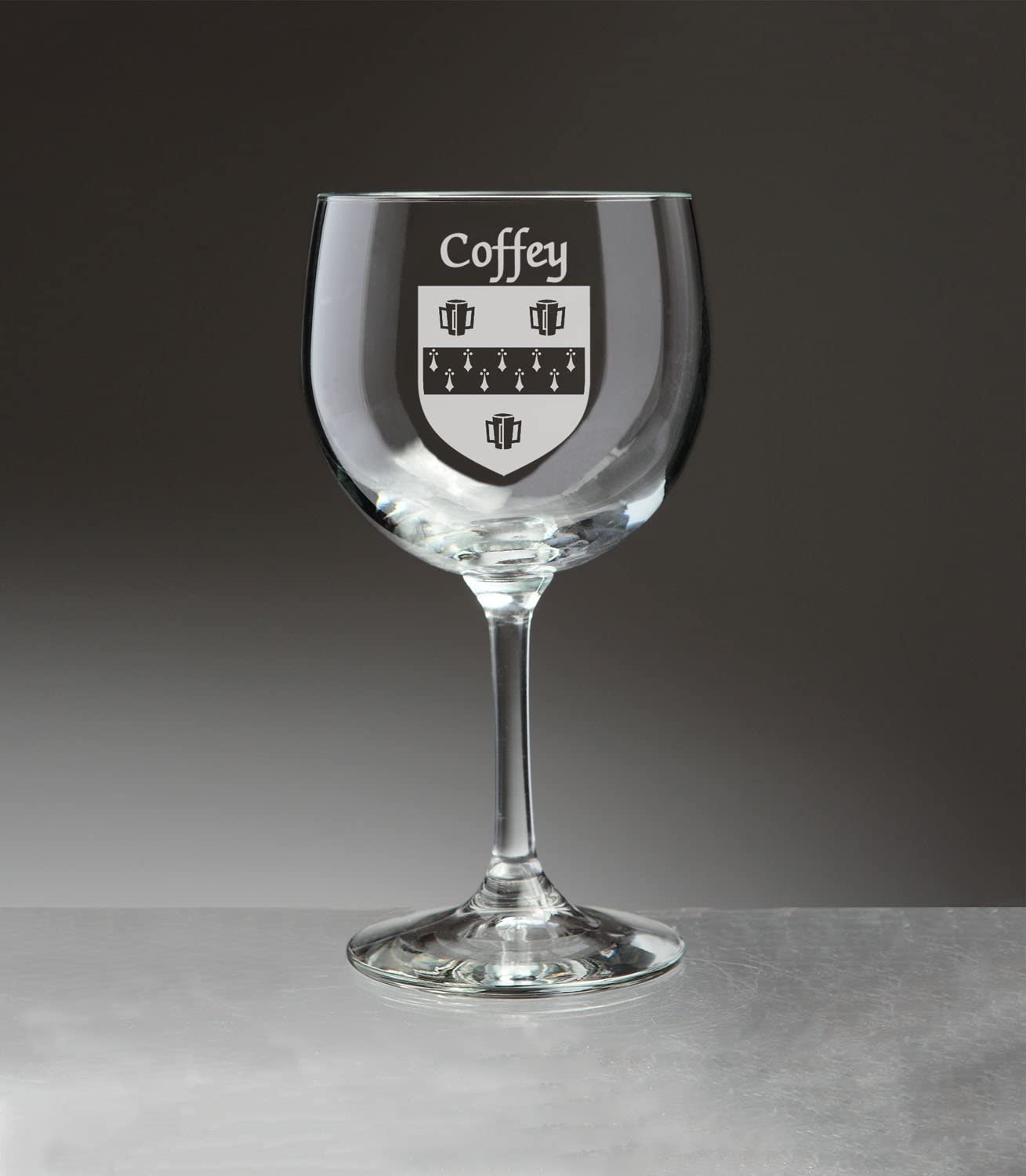 Coffey Irish Coat of Arms Ranking integrated 1st place Red Tampa Mall Wine Glasses Etch - Sand 4 Set