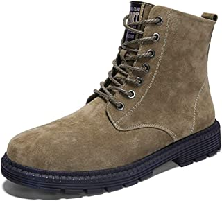 AiHua Huang Men's Ankle Boots Casual Personality Skin Leather Large Size Suede High Top Leisure Shoes (Color : Camel, Size : 10 UK)