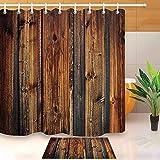 N / A Antike Holzplanke braune Holzplanke Zaun Duschvorhang & Badematte Set wasserdicht Polyester Bad Stoff Badewanne dekorative Duschvorhang A1 180x200cm