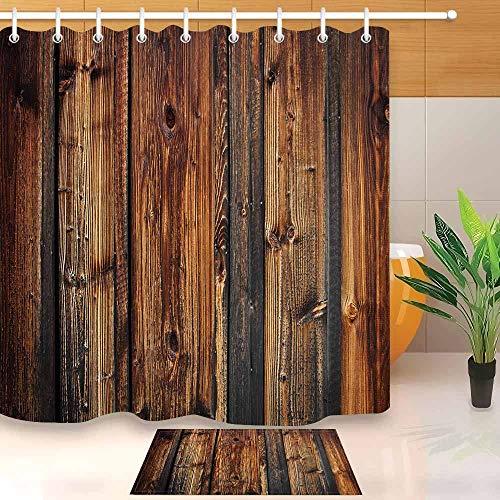 N / A Antike Holzplanke braune Holzplanke Zaun Duschvorhang und Badematte Set wasserdicht Polyester Bad Stoff Badewanne dekorative Duschvorhang A1 180x200cm