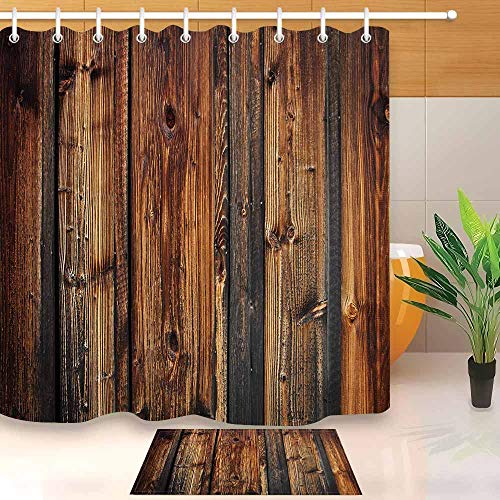 N / A Antike Holzplanke braune Holzplanke Zaun Duschvorhang und Badematte Set wasserdicht Polyester Bad Stoff Badewanne dekorative Duschvorhang A1 150x180cm