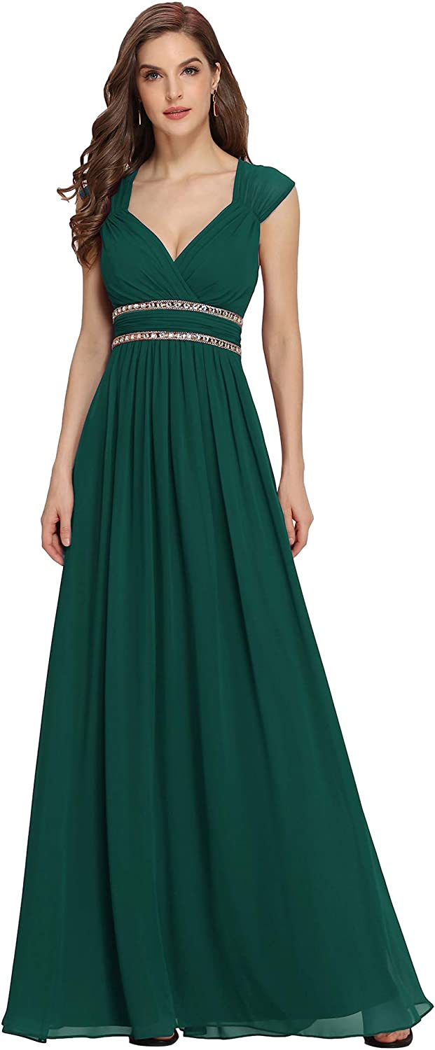 1940s Dress Styles Ever-Pretty Womens Elegant V-Neck Floor Length A Line Empire Waist Chiffon Long Bridesmaid Evening Dress 08697 £86.80 AT vintagedancer.com